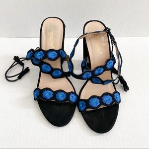 Shoe dazzle blue and black Rosiie heels size 8